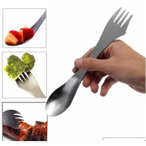 stainless steel fork spoon spork 3 in 1 tableware camping hiking multifunction portable cutlery picnic spoon fork hha1113