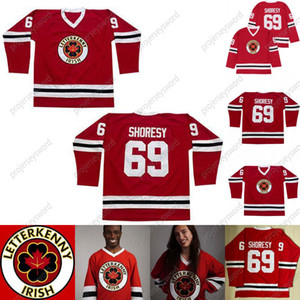 Mens 2021 New Letterkenny Irish Jersey 69 SHORESY Red TV Series Letterkenny Ice Hockey Jerseys S-XXXL