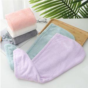 Dry Hair Caps Microfiber Quick Dry Shower Magic Absorbent Hair Towel Drying Turban Wrap Spa Bathing Cap HHA-1669