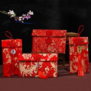 Chinese Red Envelope Betrothal Gift Bag Exquisite Floral Money Pocket High-grade Brocade Wedding Tassel Bags Knot Cloth Art P