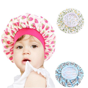 Adjust Cotton Printing Cute Comfortable Children's Elastic Wide-Brimmed Round Hair Cap Breathable Bonnet Styling Shower Hat