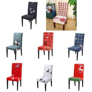1pcs Christmas Chair Cover Big Elastic Seat Chair Covers Xmas Stretch High Back Slipcovers For 2021 New Year Banquet Party
