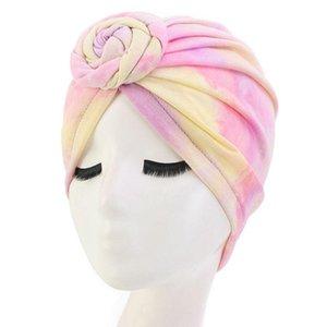 Womens Boho Spiral Howdted Turban Hat Stretch Neon Tie-Dye-Dye Chemo Cap Headwrap