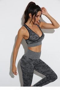 Designer V-Neck sexy Womens Yoga Outfits Suit running Gymshark Sportwear Tracksuits Fitness Camouflage Gym Two Piece Set Bra Leggings pants