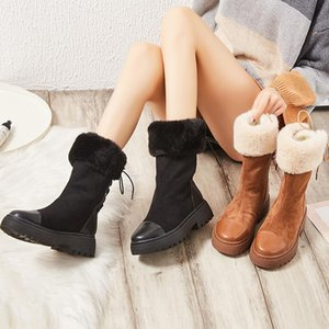 Snow Boots Women's 2020 Winter New Style Bootie Slip-Resistant Cotton-Padded Shoes with Velvet Fashion Platform Fluffy Shoes