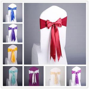 17 couleurs Chaise Spandex Jupettes gratuite Lacets élastique Chair Cover Band président avec Silk Bow Pour le Parti de l'événement fournitures de mariage Décoration EEC3456