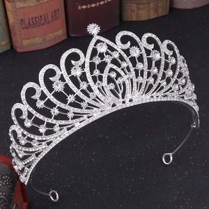 FORSEVEN Vintage Barok Rose Gold Mavi Kırmızı Kristal Çelenkler Taçlar Prenses Diadem Gelin Noiva Gelin Düğün diadema