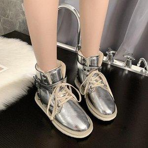 Kürk Kar Boots Kadınlar Perçin Bilek Boots Lace Up Metal Toka Düz Platformu Kış Sıcak Ayakkabı 2020 Kısa Patik