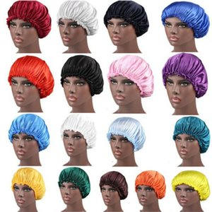 New Solid Color Silk Satin Night Hat Women Head Cover Sleep Caps Bonnet Hair Care Fashion Accessories . z7755