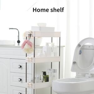 Bathroom Storage Rack 2 3 4 Layers Kitchen Narrow Cabinet Living Room Gap Shelf Home Furniture Movable Wheels Shelf