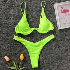 Sexy Neon V bar Underwired Bikini 2020 Female Swimsuit Women Swimwear Two piece V shape Wire Bikini set Bather Bathing Suit Swim