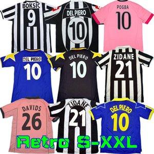 Rétro Juve del Piero Conte Soccer Jersey Pirlo Buffon Buffon Inzaghi 84 85 92 95 96 97 98 99 02 03 Rossi Zidane Ancienne Maillot Davids Chemise Boksic