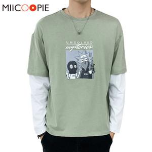Moda Men's Rick e Morty Camisetas Jovem Stitchwear Basebol Costura de Manga Comprida T-shirt de Harajuku para Male Marca Roupas X1214