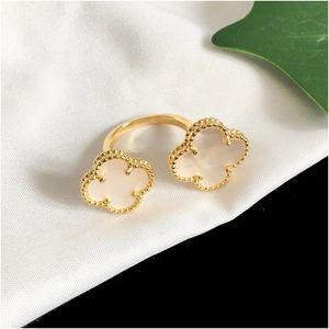Four Leaf Clover Lady Gold anelli per donna anelli di fiori per le donne agata guscio di moda gioielli per le donne con scatole all'ingrosso