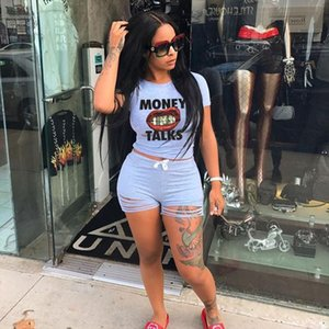 2PCS Set Women Sports Suit Letter Print T shirt Crop Top Shorts Pants Workout Tracksuit Summer Casual Outfit Set