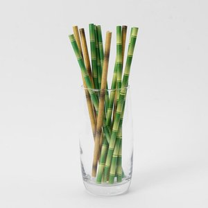 Biyobozunur Bambu Kağıt Straw Bambu Payet Çevre Dostu 25pcs Promosyon EWB2117 bir Lot Taraf Kullanımı Bambu Pipetler disaposable Straw