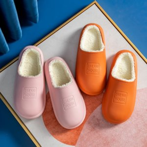 i8dfp Home candy color corduroy home couple male antiskid floor warm wool cotton Wick slippers Slippersslippers female