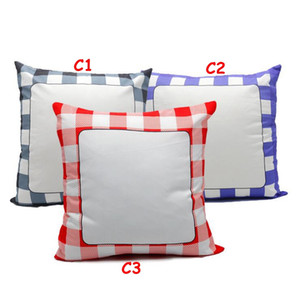 Sublimation Blanks Classical Plaid Pillow Cases Cushion Cover Throw Pillow Covers for Sublimation Printing Sofa Couch DIY Blanks Pillow Case