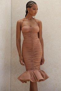 Deive Teger Women 2020 Nova Moda Halter Tan Ruffle Midi Dress Celebrity Evening Party Vestidos 83251