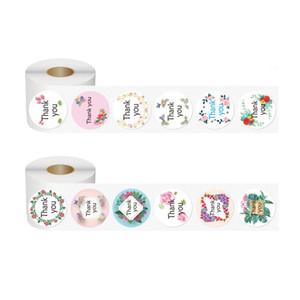 Designer Sticker graças 500 rolos de flores amor agradece-lhe rosa quente carimbar graças Etiqueta do filme de presente do feriado envelope auto-adesiva