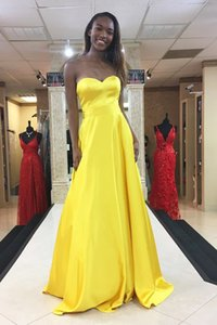 Simiple Design Yellow Prom Gown Women Sexy Sweetheart Long Evening Dress for Special Occations Custom Made
