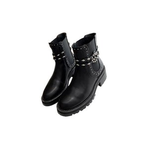 2020 new women's boots black belt buckle riveted short boots new autumn and winter leather Martin boots British style