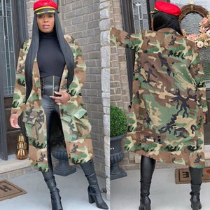 Plus Size Camouflage Camo Jacket Brasão Mulheres 2020 Oversized Cardigan Pockets Streetwear Militar Casual Casacos Chaqueta Mujer C1106