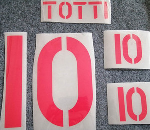 Retro Roma red printing soccer nameset #10 TOTTI soccer player's hot stamping letters printed vintage plastic football stickers namesets