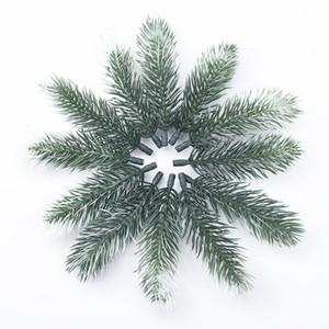 100pcs 인공 식물 플라스틱 소나무 바늘 눈송이 크리스마스 화환 소재 결혼식 장식 꽃 화환 집 장식 201128