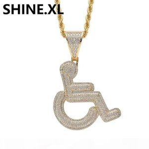 18K Gold Iced Out Wheelchair Pendant Necklace Brass Material Gold Silver Plated Mens Hip Hop Jewelry Gift