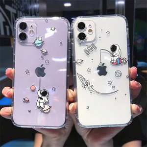 Cute Cartoon Planet Star Space Phone Case For iPhone 11 12 Pro Max 12Mini X XS XR 7 8 Plus Transparent Soft TPU Shockproof Cover