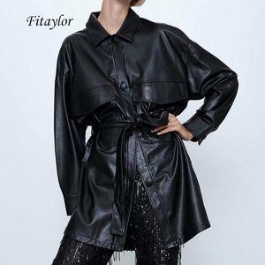 Fitaylor Mujeres Negro PU chaqueta de cuero de la pajarita Fajas bolsillos de Split capa femenina de gran tamaño de la calle de imitación de cuero suave del punk Abrigo