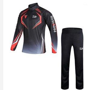 2020 Yeni Yaz Erkekler Balıkçılık Giyim Açık Hız Kuru Güneş Koruma Nefes Anti-Cibinlikli Balıkçılık Gömlek + Pantolon1