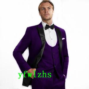 Classic One Button Handsome Groomsmen Peak Lapel Groom Tuxedos Men Suits Wedding Prom Best Man Blazer ( Jacket+Pants+Vest+Tie) W589