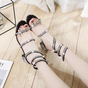 2020 Summer Women Thick Rhinestone Serpentine Winding Sandals Woman Strap Snake Type Roman Med Heels Brand Sandals