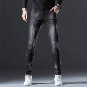 Мужские джинсы осень модная личность сломанные отверстие вышивка повседневные брюки джокер тянут стрит прямо