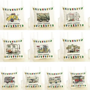 Happy Campers Pillow Case Cartoon Campers Caravan Dining Car Christmas linen Pillow Cases Office Home Hotel Cushion Cover 45*45cm GWC2612