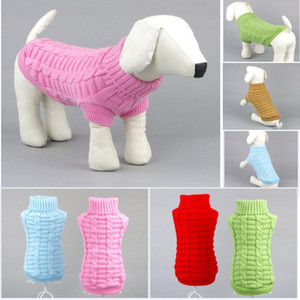 Sonbahar Kış Sıcak Pet Kazak Moda Katı Renk Örme Pet Giyim Teddy Bulldog Schnauzer Küçük Köpek Giysileri Giyim HH9-3330