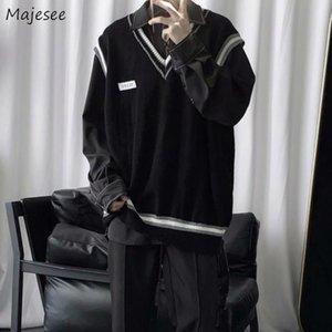 Trui Chalt Hombres con cuello en V Patchwork Ocio Losse LOSE All-Match Streetwear Mouwlleless Truien Heren Chic Korean Style Teens Parejas BF