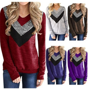 Womens Sequin Panelled T-shirt Fashion Trend Long Sleeve V-neck Loose Tee Clothing Designer Female Spring New Cacual Tops Tshirts