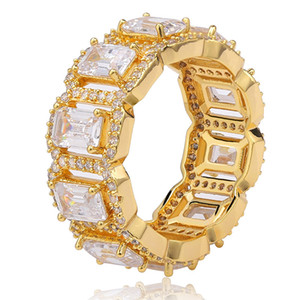 Hip Hop Square Cubic Zirconia Tennis Chain Rings Women Men 1 Row CZ Bling Iced Out Gold Ring Men Rapper Jewelry