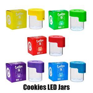 Cookies LED luz de tabaco recipiente recarregável caixa de medicina caixa de vidro frascos de cera 155ml armazenamento erva seca rolar cigarro fulgor mag