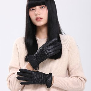 Mittens pure color warm women sewing down fabric antiskid Winter black gloves driving riding