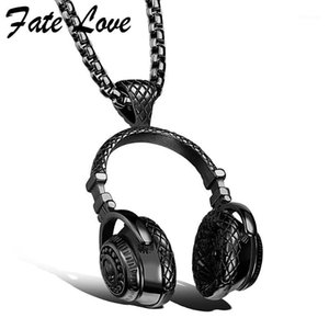 Hip Hop Jewelry Men Necklace Stainless Steel Music Headphone Pendant Necklaces 2020 Fashion Cool Gifts Mens Jewellery Collier1
