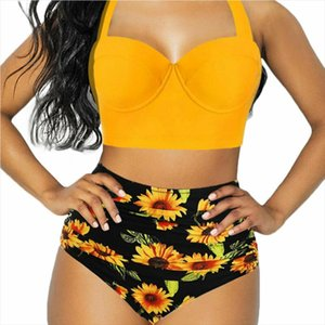Plus Size Women Sexy Bikini Set Bandage Push Up Padded Swimwear Summer Bathing Beachwear High Waist Sumflower 2Pcs Set