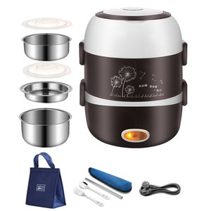 220V Portable Chauffage électrique Boîte à lunch bureau Container en acier inoxydable alimentaire Thermos Bento Box Food Steamer Mini Rice Cooker 201029