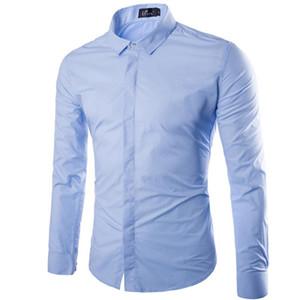남성 캐주얼 셔츠 브랜드 하늘색 남성 셔츠 긴 소매 chemise homme 2021 가을 패션 솔리드 컬러 슬림 맞는 망 드레스 캐미사 사회
