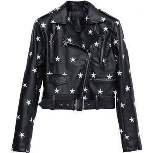 Moda Star Bordado PU Chaqueta de cuero para mujer Casual Casual Chaquetas de motocicletas Brillantes Streetwear Abrigos y Chaquetas Mujeres1