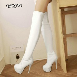 Women Over The Knee Boots Sexy Super High Heels Thigh Boots Fashion Round Toe Platform Stretch Warm Fall Winter Shoes