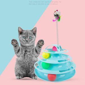 Four Levels Pet Cat Toy Tower Tracks Disc Cat Intelligence Amusement triple Pay Disc Toys Ball Training Amusement Plate